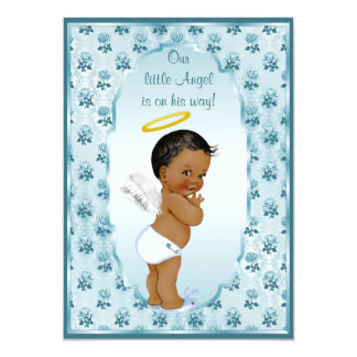 Ethnic Little Boy Angel Blue Roses Baby Shower Card