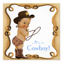 Ethnic Little Cowboy Baby Shower Card