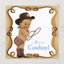 Ethnic Little Cowboy Baby Shower Invitation