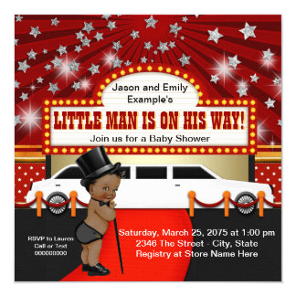 Ethnic Little Man Limousine Movie Star Baby Shower Card