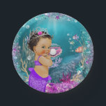 "Ethnic Little Mermaid Baby Paper Plates<br><div class=""desc"">Mermaid baby shower paper plates with adorable ethnic African American baby mermaid with a pretty purple tail on a beautiful teal blue under the sea background. You can add text to personalize these cute mermaid paper plates.</div>"