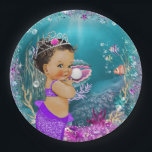 """Ethnic Little Mermaid Baby Paper Plates<br><div class=""""desc"""">Mermaid baby shower paper plates with adorable ethnic African American baby mermaid with a pretty purple tail on a beautiful teal blue under the sea background. You can add text to personalize these cute mermaid paper plates.</div>"""