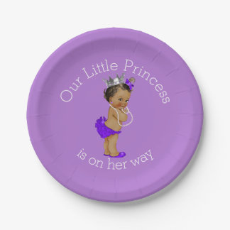 Ethnic Little Princess Baby Shower Lavender Paper Plate