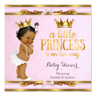 Ethnic Little Princess Baby Shower Pink Gold Card