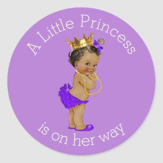 Ethnic Little Princess Baby Shower Purple Gold Classic Round Sticker