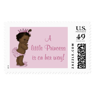 Ethnic Little Princess is on Her Way Vintage Baby Postage Stamps