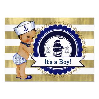 Ethnic Little Sailor Boy Nautical Baby Shower Card
