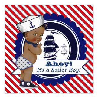 Ethnic Little Sailor Nautical Baby Shower Card