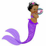 Ethnic Mermaid Baby Girl Cutout<br><div class='desc'>Ethnic Mermaid baby girl sculpture is perfect for use as a baby shower table decoration or as a baby shower gift for use in baby&#39;s room. This adorable mermaid photo sculpture comes with a base so it will stand.</div>