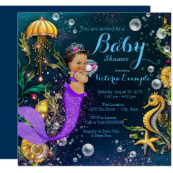 Ethnic Mermaid Baby Shower Card