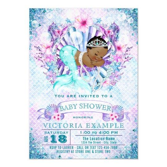 Ethnic mermaid baby shower invitations zazzle ethnic mermaid baby shower invitations filmwisefo