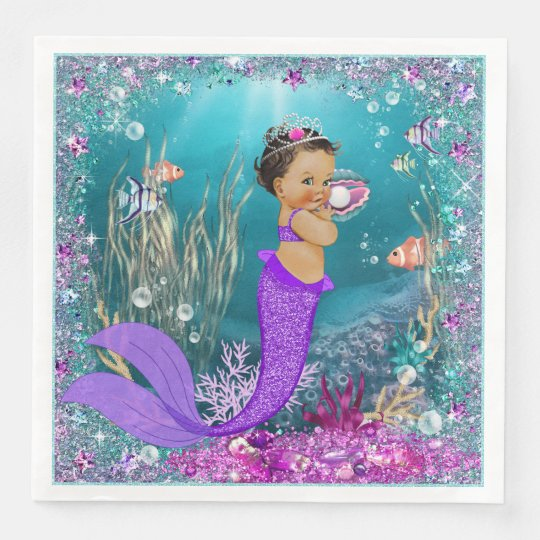 Ethnic Mermaid Baby Shower Napkins Zazzle Com