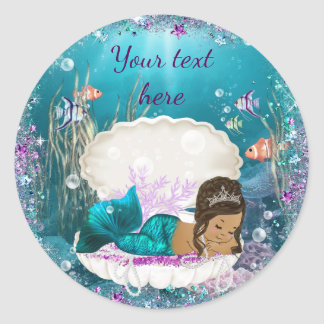 Ethnic Mermaid Girl Baby Shower Stickers