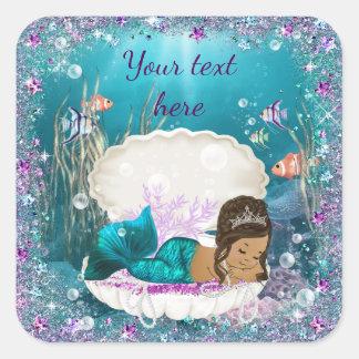 Ethnic Mermaid Girl Baby Shower Stickers