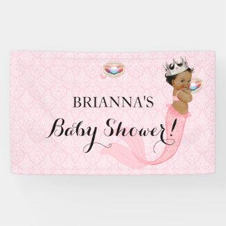 Ethnic Mermaid Princess Baby Girl Crown Pink Banner