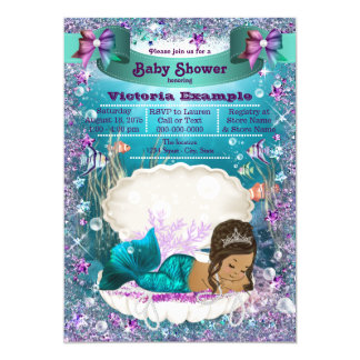 Ethnic Mermaid Princess Baby Shower Card