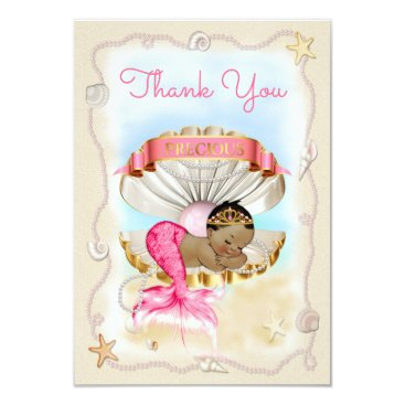 Beach Themed Ethnic Mermaid Princess Clam Shell Thank You Card