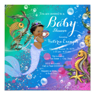 Ethnic Mermaid Under the Sea Baby Shower Card