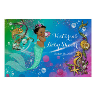 Ethnic Mermaid Under The Sea Baby Shower Poster