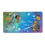 Ethnic Mermaid Under The Sea Water Bottle Label