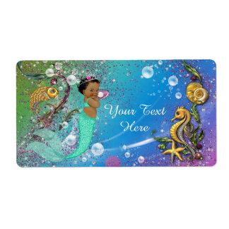 Ethnic Mermaid Under The Sea Water Bottle Label
