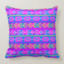 Ethnic Mexican Aztec geometric colorful pattern Throw Pillow