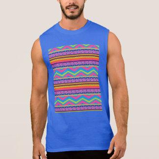 Ethnic Mix Border Pattern Sleeveless Shirt