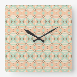Ethnic Moroccan Motifs Seamless Pattern 18 Square Wall Clock