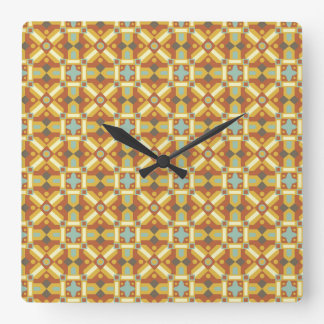Ethnic Moroccan Motifs Seamless Pattern 6 Square Wall Clock