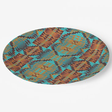 Aztec Themed Ethnic Native American Indian Tribal Pattern Paper Plate