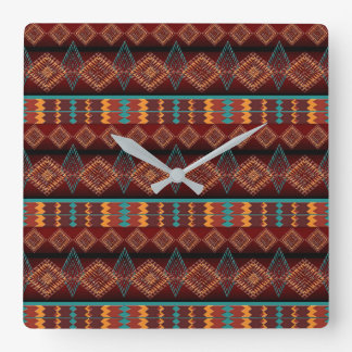 ethnic navajo seamless pattern square wall clock