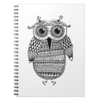 Ethnic Owl Ink Drawing Spiral Notebook