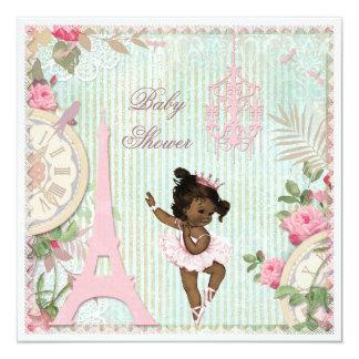 Ethnic Paris Princess Ballerina Shabby Baby Shower Card