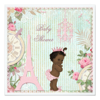 Ethnic Paris Princess Shabby Chic Baby Shower Card