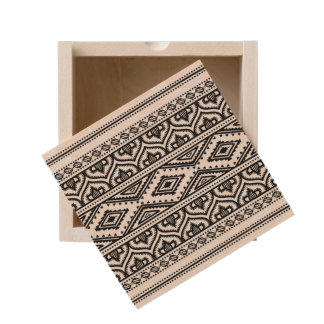 Ethnic Pattern Design Wooden Keepsake Box
