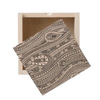 Ethnic Pattern Doodle Wooden Keepsake Box