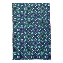 Ethnic pattern in shades of blue kitchen towel