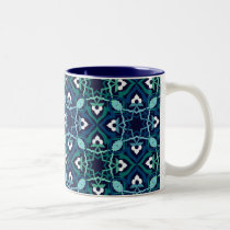 Ethnic pattern in shades of blue mugs