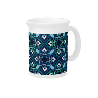 Ethnic pattern in shades of blue pitcher
