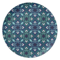 Ethnic pattern in shades of blue plates