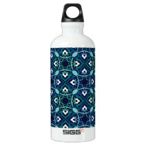 Ethnic pattern in shades of blue water bottle