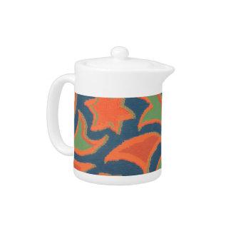 Ethnic Pattern Tea Pot, Burnt Orange, Dark Blue Teapot