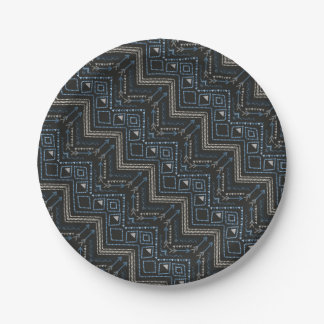 Ethnic pattern with american ornament paper plate