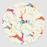 Ethnic Patterned Reindeer Classic Round Sticker