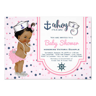 Ethnic Pink Navy Blue Girl Nautical Baby Shower Card