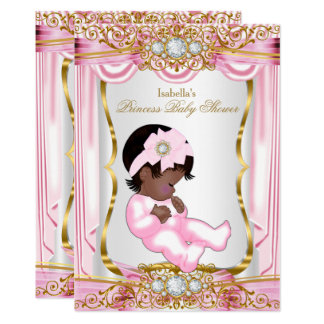 Ethnic Pretty Princess Baby Shower Pink Silk Gold Card