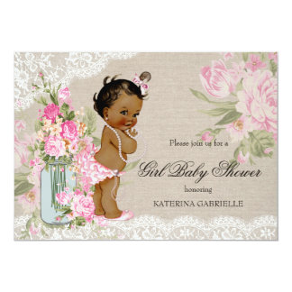 Ethnic Pretty Shabby Chic Lace Floral Baby Shower Card