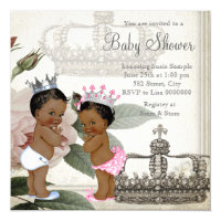 Ethnic Prince and Princess Twin Baby Shower Card
