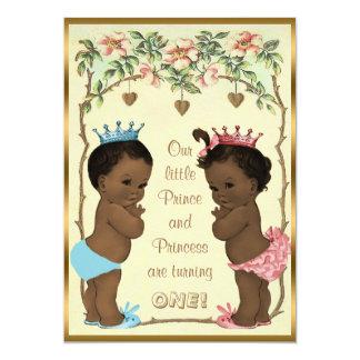 Ethnic Prince and Princess Twins Birthday Card