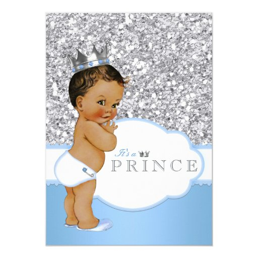 Ethnic Prince Baby Shower Blue And Silver Card Zazzle